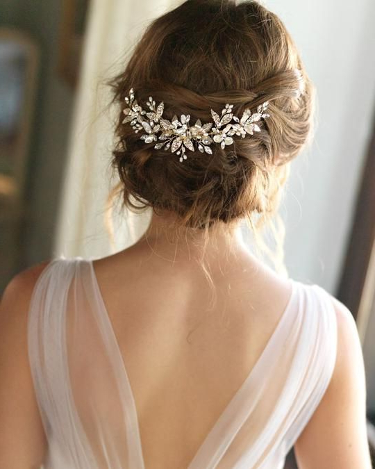 Aviana Back Comb In 2018 | He Loves Me | Pinterest | Bridal Hair Within Brushed Back Bun Bridal Hairstyles (Gallery 4 of 25)