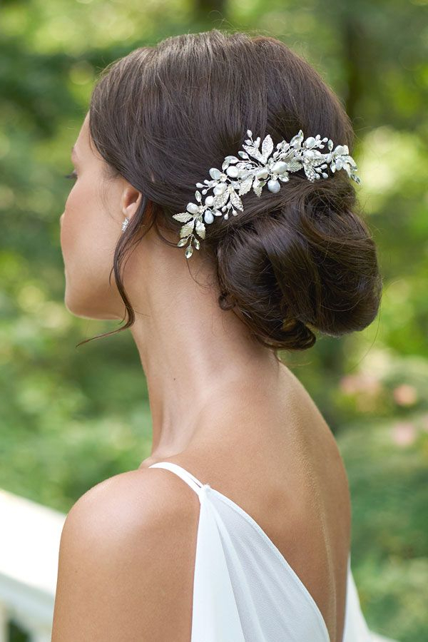 Aviana Back Comb In 2019 | Dareth Colburn Bridal Collection | Bridal In Brushed Back Bun Bridal Hairstyles (Gallery 7 of 25)