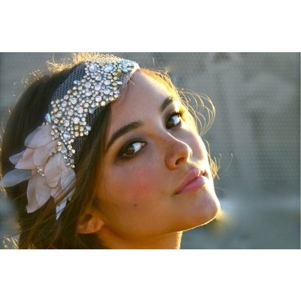 Beaded Bohemian Bride Wedding Headband ? Liked On Polyvore Within Bedazzled Chic Hairstyles For Wedding (View 13 of 25)