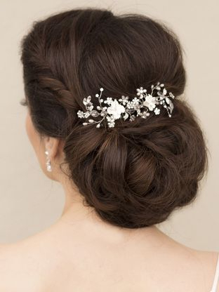 Beaded Flower Bridal Hair Combs In A Low Bun Bridal Updo Hairstyle Inside Wedding Low Bun Bridal Hairstyles (View 5 of 25)