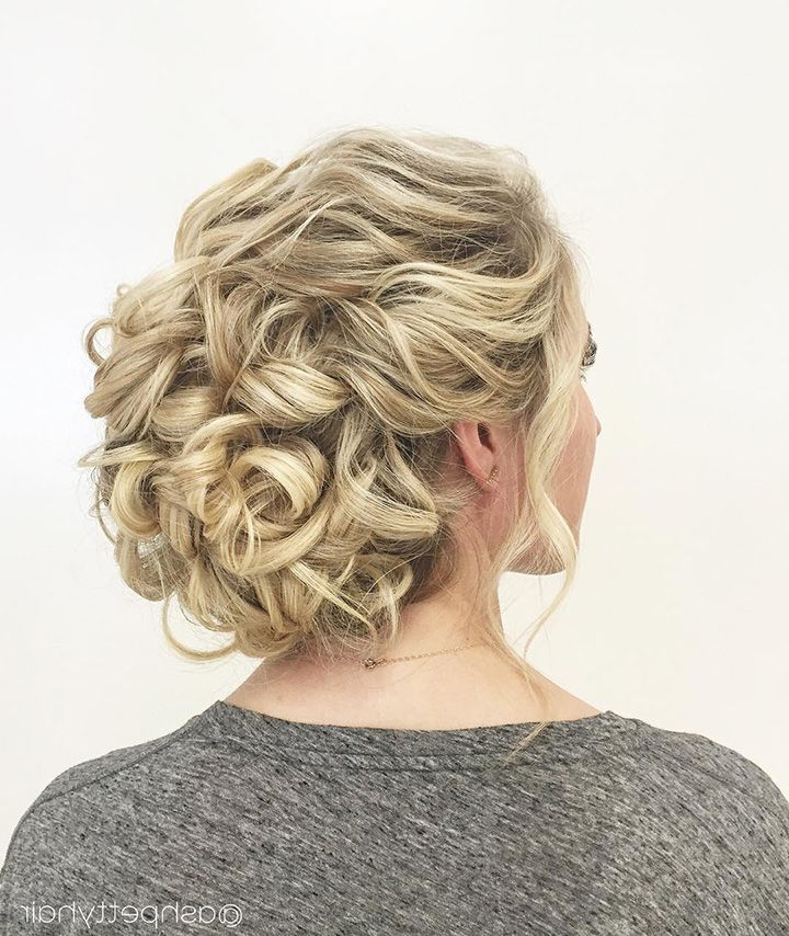 Beautiful Braids And Updos From @ashpettyhair | Wedding Hair For Throughout Wavy And Wispy Blonde Updo Wedding Hairstyles (View 13 of 25)