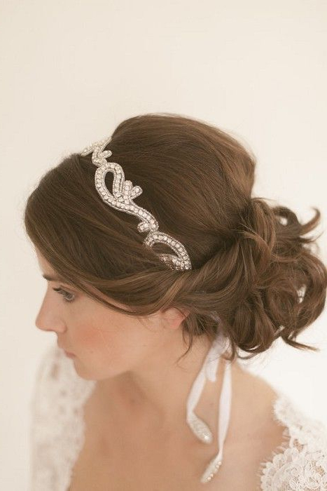 Beautiful Soft Low Bun..maybe With A Smaller Head Band (View 11 of 25)