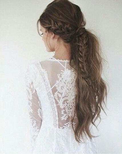 Beautiful Teased French Braid Into Ponytail | Hair | Pinterest Intended For Teased Wedding Hairstyles With Embellishment (View 3 of 25)