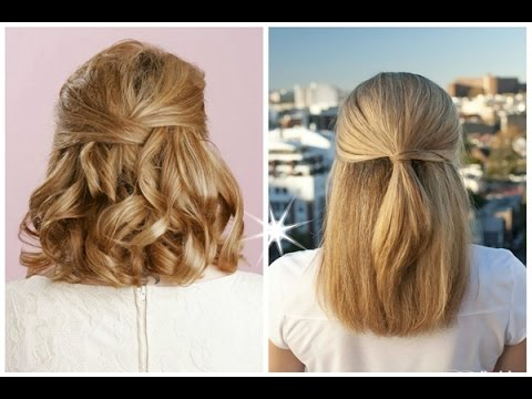 Best Half Up Half Down Hairstyles For Long Short Curly Hair – Youtube Inside Simple Halfdo Wedding Hairstyles For Short Hair (View 25 of 25)