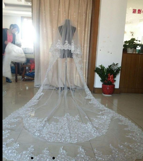 Best Selling Luxury Real Image Wedding Veils Three Meters Long Veils For Wedding Hairstyles With Extra Long Veil With A Train (View 20 of 25)