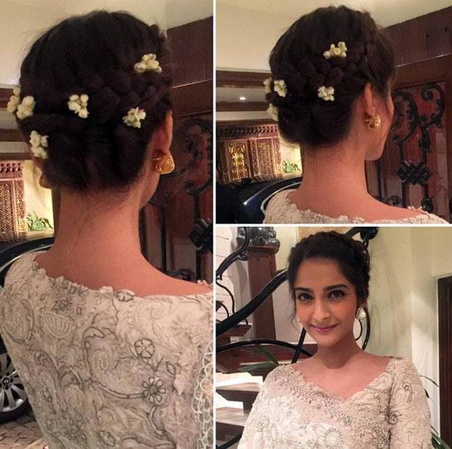 Best Sonam Kapoor Bun Hairstyles For Indian Wedding And Festive Regarding Sleek Low Bun Rosy Outlook Wedding Updos (View 18 of 25)