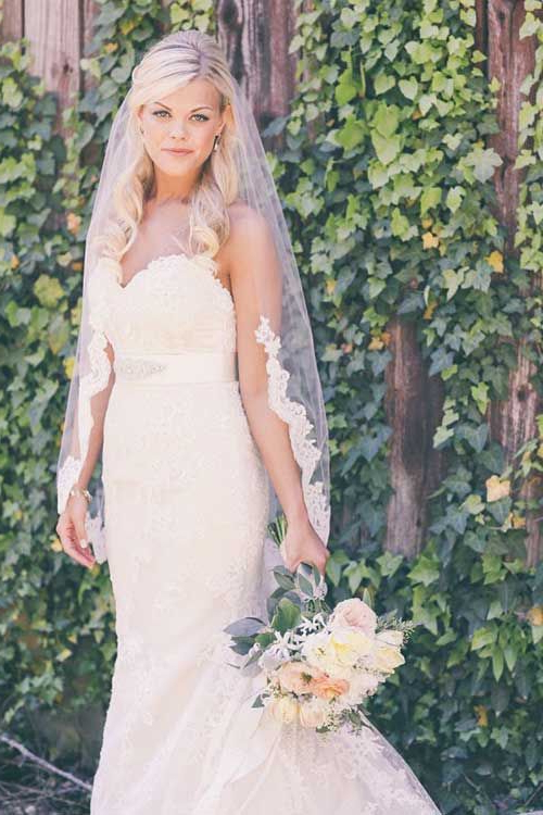Blonde Bridal Hairstyles With Lace Veil Pictures | Wedding Hair pertaining to Blonde Half Up Bridal Hairstyles With Veil