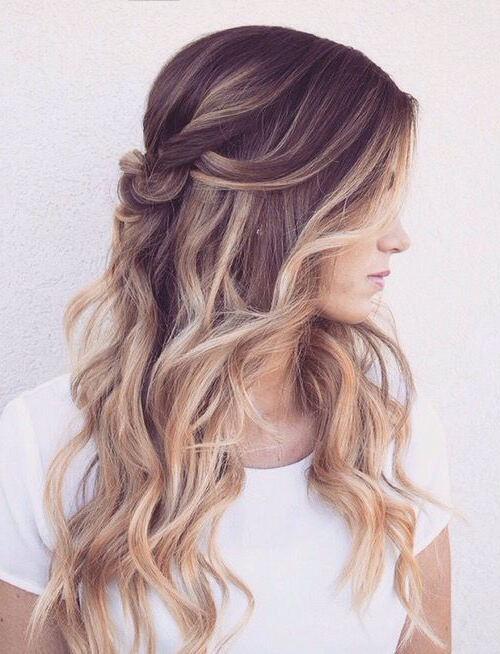 Featured Photo of Half Up Blonde Ombre Curls Bridal Hairstyles