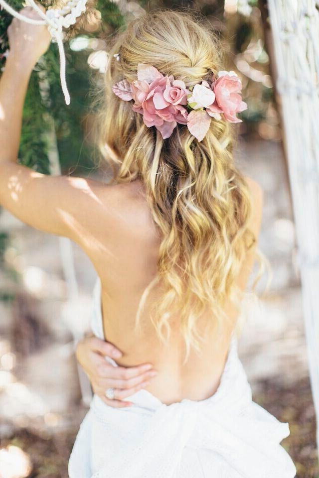 Bohemian Half Up, Half Down Wedding Hairstyle With Floral Crown With Regard To Bohemian Curls Bridal Hairstyles With Floral Clip (View 8 of 25)