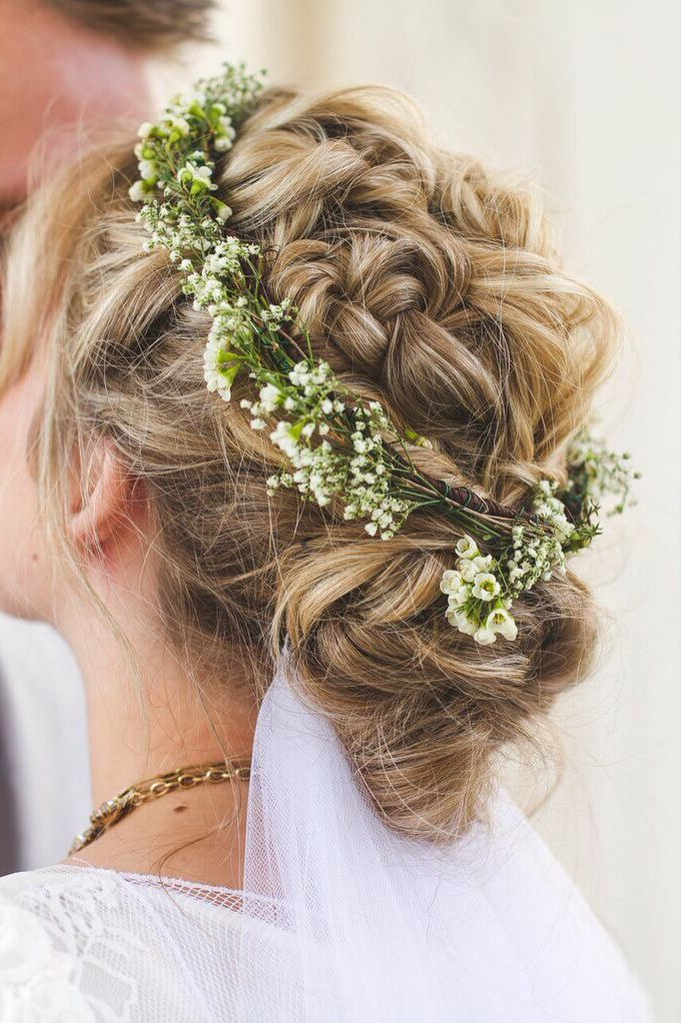 Boho Braided Twisted And Fishtail Wedding Up Do With Baby's Breath For French Twist Wedding Updos With Babys Breath (View 4 of 25)