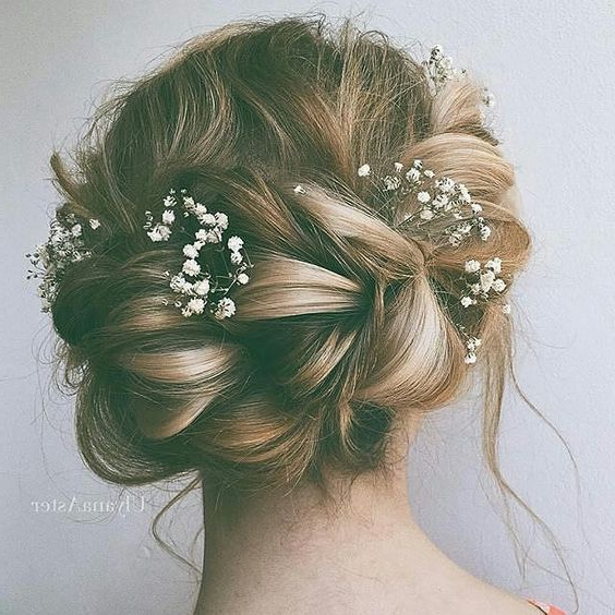 Boho Wedding Inspiration From Dresses To Decor – Around The World For French Twist Wedding Updos With Babys Breath (View 12 of 25)