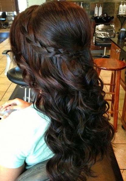 Bouffant Puff, Loose Tapered Curls And Braid   Latest Hairstyle In Loose Curly Half Updo Wedding Hairstyles With Bouffant (View 2 of 25)