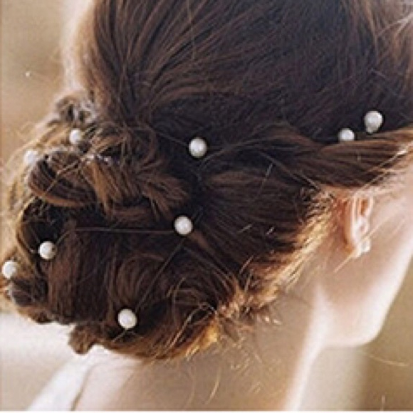 Boutique Accessories | Set Of 12 Pearl Spiral Hair Pins Wedding Prom Pertaining To Embellished Caramel Blonde Chignon Bridal Hairstyles (View 19 of 25)