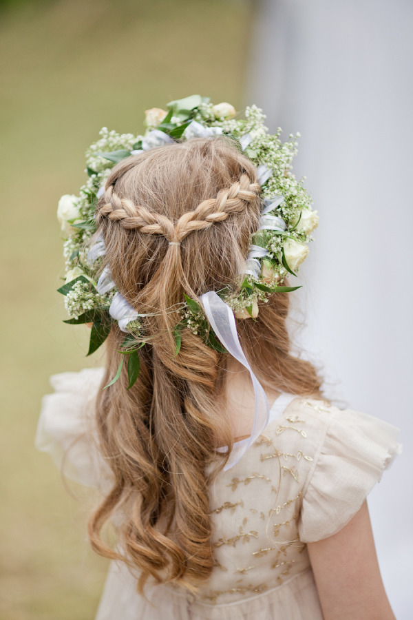 Braid Half Up Half Down Hairstyle With Roses And Babay's Breath For Floral Crown Half Up Half Down Bridal Hairstyles (View 5 of 25)
