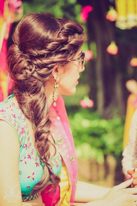 Braided Hair Looks We've Loved On Real Indian Brides | Hairstyles In Double Braid Bridal Hairstyles With Fresh Flowers (View 23 of 25)