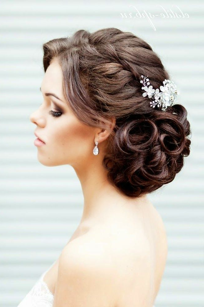 Braided Hairstyles For Weddings Throughout Large Curl Updos For Brides (View 10 of 25)