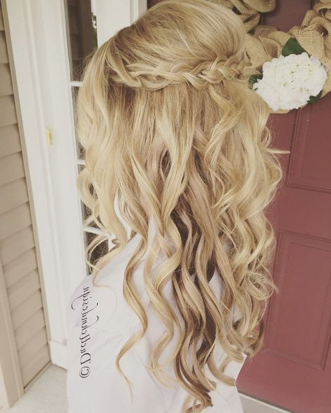 Braided Updo / Half Up Half Down /romantic / Loose Curls / Blonde Within Wedding Semi Updo Bridal Hairstyles With Braid (View 8 of 25)