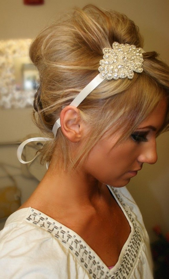 Bridal Hair Piece, Bridal, Elsie, Rhinestone Headband, Bridal Hair Pertaining To High Updos With Jeweled Headband For Brides (View 6 of 25)