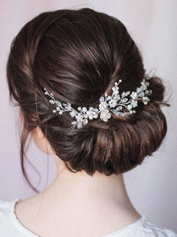 Bridal Hair Vine Wedding Hair Vine Floral Vine Flower Crystal | Etsy Pertaining To Wedding Low Bun Bridal Hairstyles (View 6 of 25)
