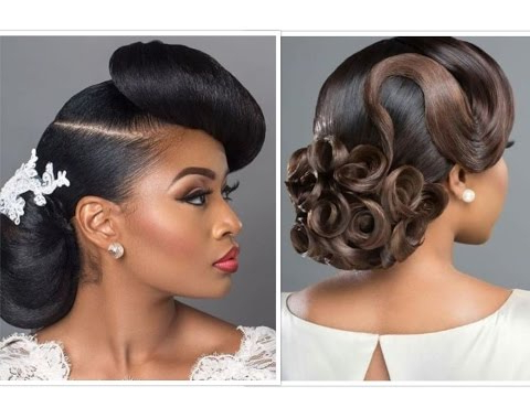 Bridal Hair (With Weave) & Makeup For Black Beauties – Youtube Intended For Messy Woven Updo Hairstyles For Mother Of The Bride (View 18 of 25)