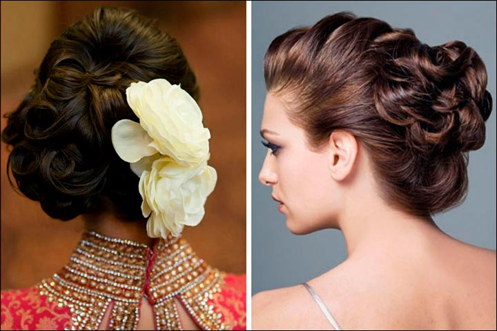 Bridal Hairstyles For Medium Hair: 32 Looks Trending This Season Pertaining To Curly Bun Bridal Updos For Shorter Hair (View 12 of 25)