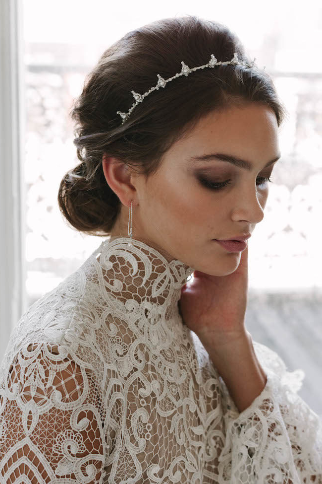 Bridal Hairstyles To Flatter Your Face Shape | Tania Maras Bridal Throughout High Updos With Jeweled Headband For Brides (View 15 of 25)