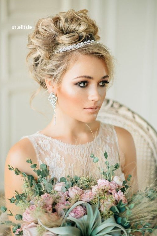 Bridal Hairstyles With Pieces Headbands Tiaras | Fall Wedding In For Curly Bridal Bun Hairstyles With Veil (View 4 of 25)