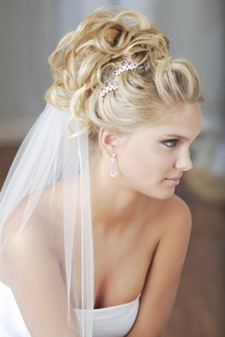 Bridal Hairstyles With Veil Intended For Curly Bridal Bun Hairstyles With Veil (View 5 of 25)