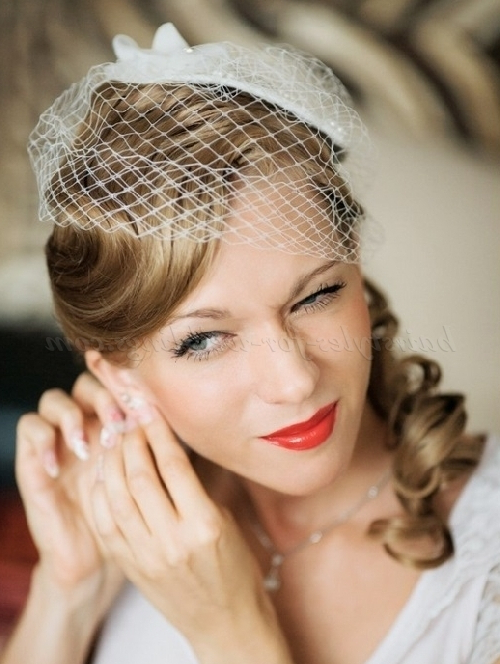 Bridal Hats – Bridal Hat With Vintage Hairstyle | Hairstyles For Intended For Upswept Hairstyles For Wedding (View 25 of 25)