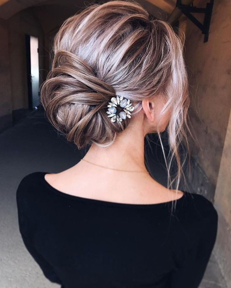 Bridal Loose Bun Updo. Messy Blonde Ombre Balayage (View 8 of 25)