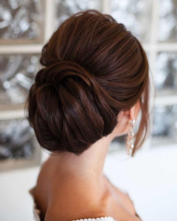 Bridal Style For Short Hair | Guides For Brides | Blog In Brushed Back Bun Bridal Hairstyles (View 18 of 25)