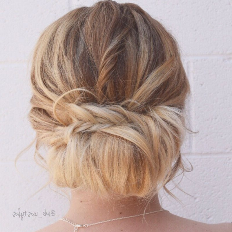 Bridal Updo. Low Loose Bun With A Braid (View 2 of 25)