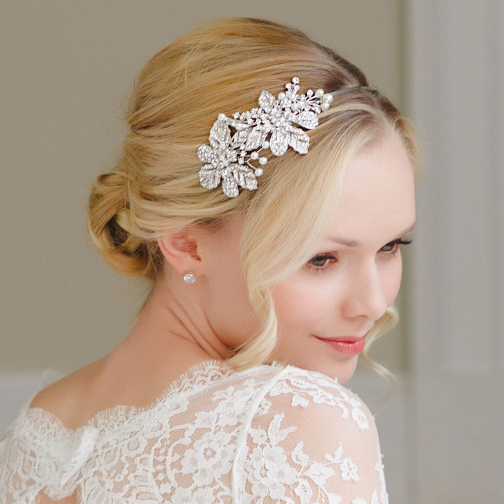Bridal Wedding Hair Accessories   Glitzy Secrets Inside Bridal Chignon Hairstyles With Headband And Veil (View 14 of 25)