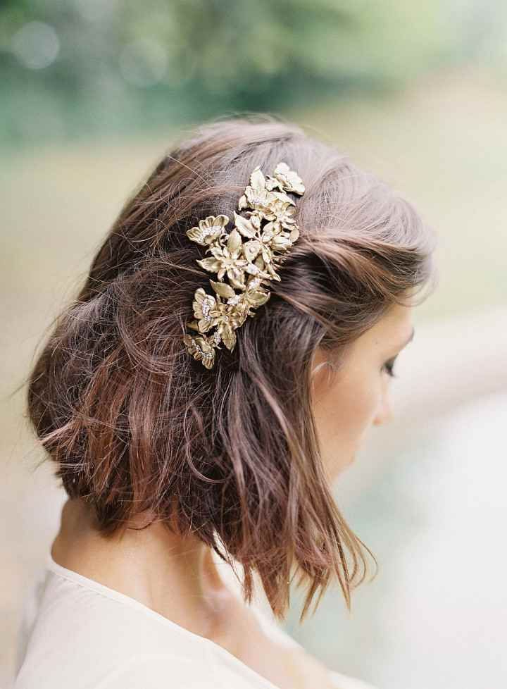 Bride With Pulled Back Hairstyle In Gold Barrette | Hairs In 2018 Within Pulled Back Bridal Hairstyles For Short Hair (View 15 of 25)