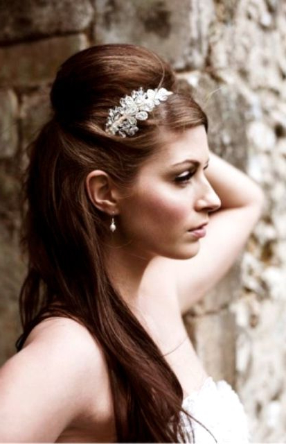 Featured Photo of Semi Bouffant Bridal Hairstyles With Long Bangs