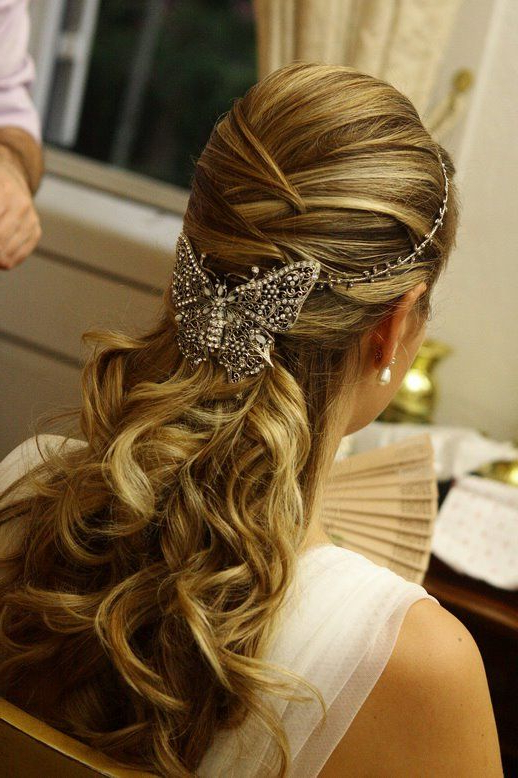 Bride's Half Up Crisscross Braided Long Curls Bridal Hair Ideas Within Crisscrossed Half Up Wedding Hairstyles (View 4 of 25)