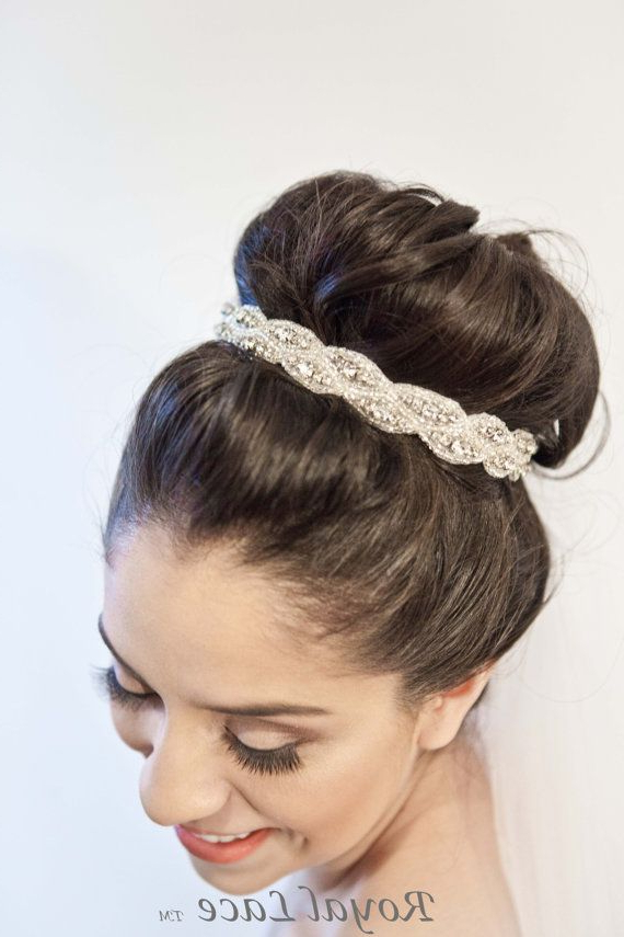 Captive Crystals, Beads, Headband, Hair Bun, Bridal, Ribbon, Wedding With Regard To Large Curly Bun Bridal Hairstyles With Beaded Clip (View 4 of 25)