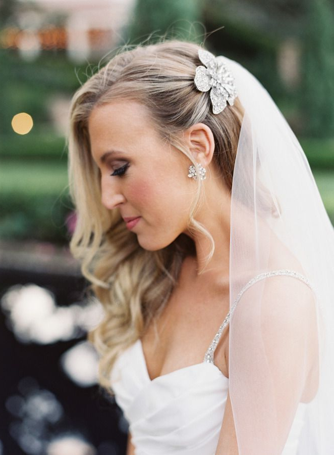 Chic Jacksonville Garden Wedding | Bridal Hairstyles | Wedding Regarding Curls Clipped To The Side Bridal Hairstyles (View 2 of 25)