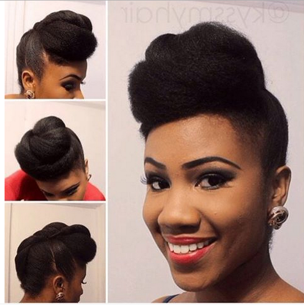 Chic Natural Hairstyles For Weddings & More With Pompadour Bun Hairstyles For Wedding (View 6 of 25)