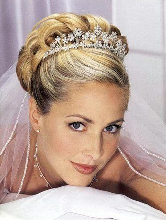 Classic Blonde Haired Brides With Updos And Veil | Great Choice For Pertaining To Classic Bridal Hairstyles With Veil And Tiara (View 10 of 25)