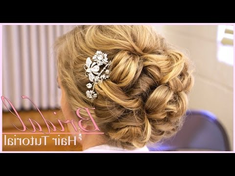 Classic Bridal Updo: Hair Style Tutorial – Youtube Inside Messy Woven Updo Hairstyles For Mother Of The Bride (View 20 of 25)