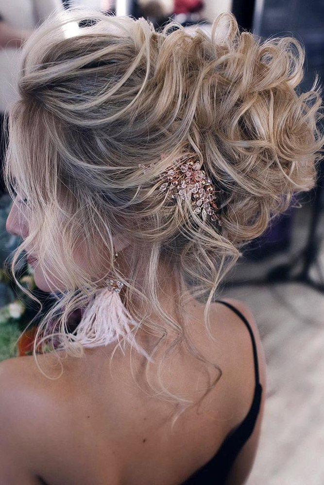 Classical Wedding Hairstyles High Curly Volume Updo For Medium Hair Regarding Formal Bridal Hairstyles With Volume (View 6 of 25)
