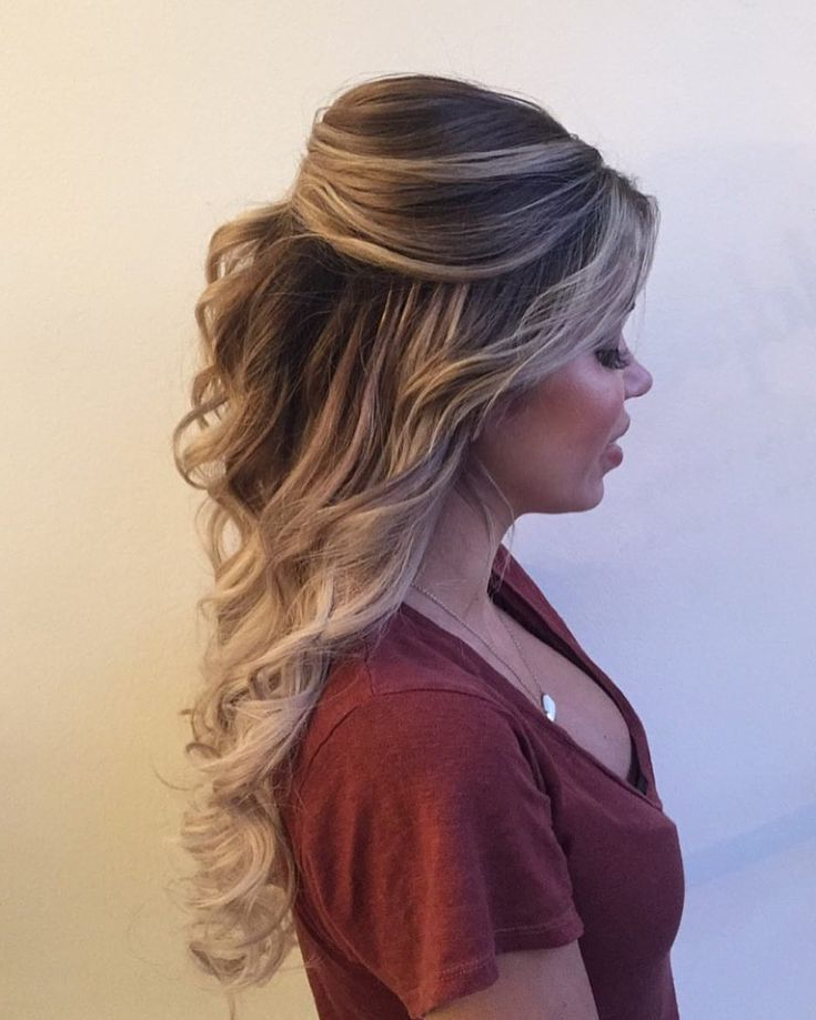 Completely I Love With This Curly Bouffant Style | Hair Regarding Bouffant Half Updo Wedding Hairstyles For Long Hair (View 21 of 25)