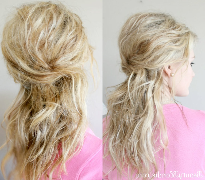 Criss Cross, Half Up, Half Down Style Regarding Crisscrossed Half Up Wedding Hairstyles (View 7 of 25)