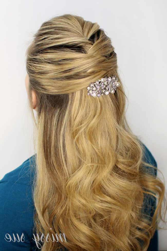 Criss Cross Half Updo Inside Crisscrossed Half Up Wedding Hairstyles (View 13 of 25)