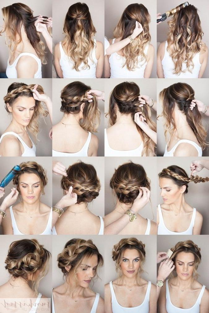 Crown Braid/halo Braid Braided Hair Tutorial // Skmu // Blog Within Crown Braid, Bouffant And Headpiece Bridal Hairstyles (View 8 of 25)