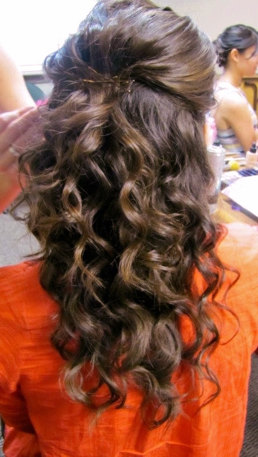 Curly Hair, Half Up. Wedding Hair. Coarse Hair (View 12 of 25)