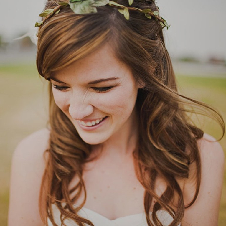Curly Half Up Wedding Hair With Wreath | Brides Regarding Half Up Curls Hairstyles For Wedding (View 14 of 25)