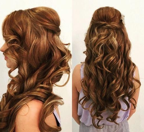 Curly Half Updo With A Bouffant For Long Hair #weddinghairstyles Pertaining To Semi Bouffant Bridal Hairstyles With Long Bangs (View 7 of 25)