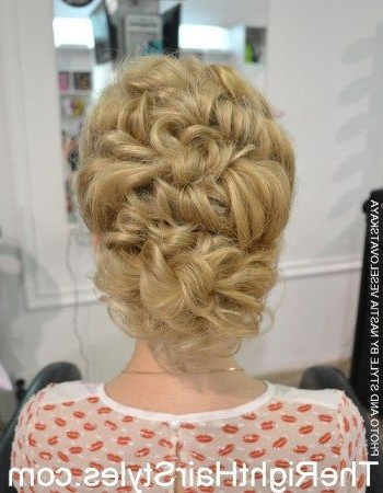 Curly Updo With A Bouffant #weddinghairhalfup | Wedding Hair Half Up Intended For Curly Wedding Updos With A Bouffant (View 9 of 25)